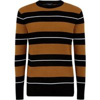 Rust Stripe Ribbed Crew Neck Jumper New Look