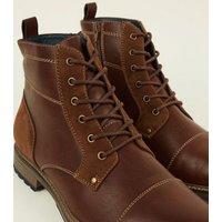 Dark Brown Combat Boots New Look