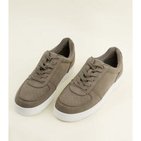 Dark-Grey-Perforated-Toe-LaceUp-Trainers-New-Look