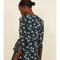 Blue Vanilla Green Floral Tie Sleeve Wrap Dress New Look