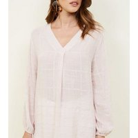apricot-pale-pink-woven-check-top-new-look