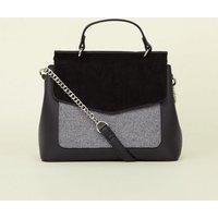 Grey Felt Pocket Top Handle Bag New Look