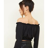 Black Button Front Bardot Crop Top New Look