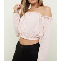 Pink Button Front Bardot Crop Top New Look