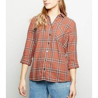 Petite Rust Check Oversized Cotton Shirt New Look