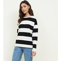 Off White Stripe Slouchy Rugby Top New Look