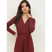 Burgundy Ribbed Long Sleeve Wrap Front Jumpsuit New Look