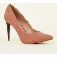 Pink Suedette Two Tone Stiletto Courts New Look