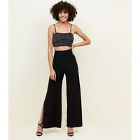 Cameo Rose Black Glitter Crop Top New Look