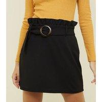 Petite Black Circle Buckle Paperbag Mini Skirt New Look