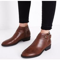 Tan Leather-Look Buckle Side Ankle Boots New Look