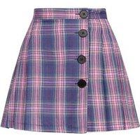 Cameo Rose Purple Check Pleated Mini Skirt New Look