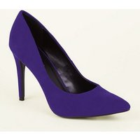 Deep Purple Suedette Pointed Court Shoes New Look