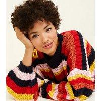Pink-Vanilla-Multicoloured-Stripe-Fluffy-Knit-Jumper-New-Look