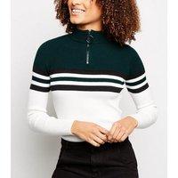dark green block stripe ring zip neck jumper new look