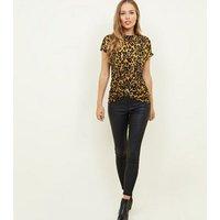 Yellow Leopard Print Twist Front Top New Look