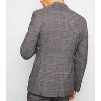 Grey and Orange Check Blazer New Look