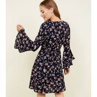 Mela Blue Floral Tiered Sleeve Dress New Look