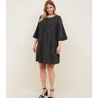 Mela Curves Black Glitter Ruched Neck Tunic Dress New Look