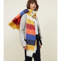 Rainbow Block Stripe Scarf New Look
