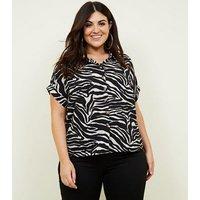 Curves Black Zebra Print Boxy Shirt New Look