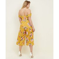 Curves Yellow Floral Bardot Culotte Jumpsuit New Look