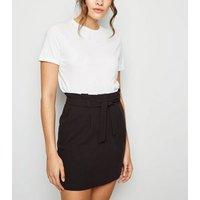 Black Tie Waist Paperbag Mini Skirt New Look