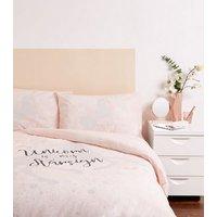 Pink Unicorn Slogan Cotton Double Duvet Set New Look