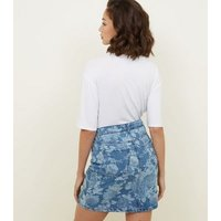 Blue Floral High Waist Denim Skirt New Look