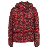 Red Leopard Print Hooded Puffer Jacket New Look