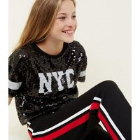 Girls Black Sequin New York Sleeve Stripe T-Shirt New Look
