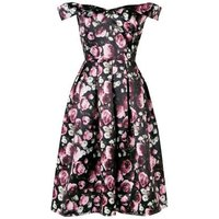 Mela Black Floral Bardot Prom Dress New Look