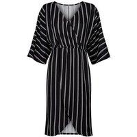 Mela Black Stripe Wrap Front Dress New Look
