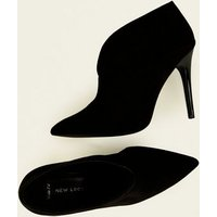 Wide Fit Black Suedette Cut-Out Front Stiletto Boots New Look