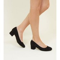 Extra Wide Fit Black Suedette Low Block Heel Courts New Look