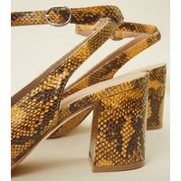 Mustard Faux Snake Block Heel Slingbacks New Look