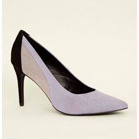 Purple Contrast Suedette Pointed Court Heels New Look