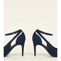 Navy Suedette Cut Out Pointed Courts New Look
