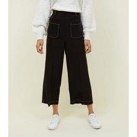 Black Contrast Stitch Wide LegTrousers New Look