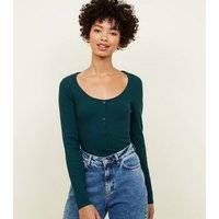 Dark Green Ribbed Button Front Long Sleeve Top New Look