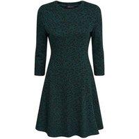 Green Leopard Print 3/4 Sleeve Swing Dress New Look