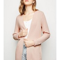 Pink Fine Knit Rib Longline Cardigan New Look