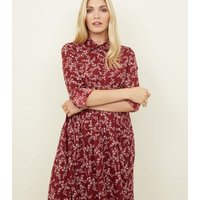 Maternity Red Floral Smock Shirt Dress New Look