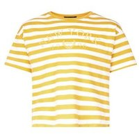 Girls Yellow Stripe New York Slogan T-Shirt New Look
