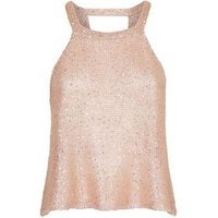 Tokyo Doll Gold Sequin Knit Top New Look