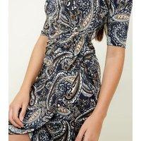 Mela Navy Paisley Print Side Knot Dress New Look