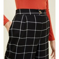 Black Grid Check Cropped Trousers New Look