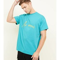 Turquoise Au Revoir Embroidered T-Shirt New Look
