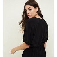 Black Twist Wrap Front Midi Dress New Look