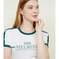 White Melrose Slogan Print T-Shirt New Look